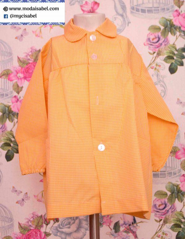 Babi escolar 001 de cuadros amarillo