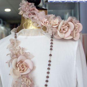 Corona para vestido de comunión 040 con flores color rosa