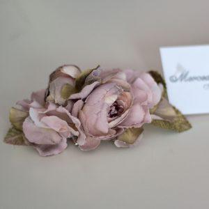 Tocado para vestido de comunión 035 en color rosa de Mercedes de Alba