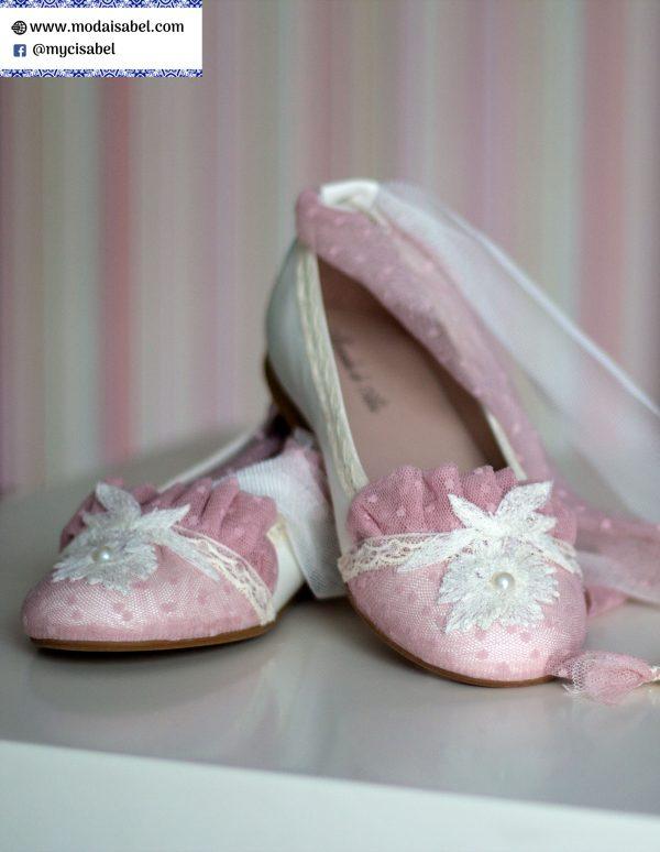 Zapatos 089 rosas y blancos con lazo rosa de Mercedes de Alba para comunión