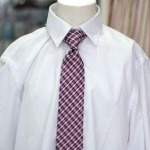 Corbata 062 de cuadros blanco
