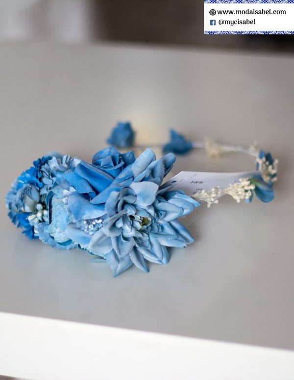 Corona para vestido de comunión 037 en color azul de Mercedes de Alba